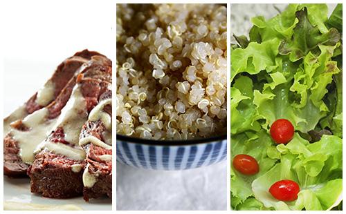 Bifteck à la moutarde, quinoa et salade verte