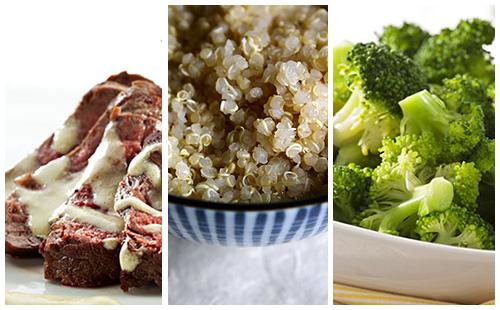 Bifteck sauce moutarde au quinoa et brocolis