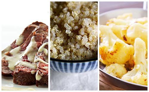 Bifteck sauce moutarde au quinoa et chou-fleur