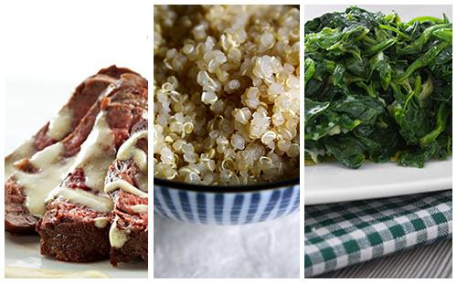 Bifteck sauce moutarde au quinoa et épinards