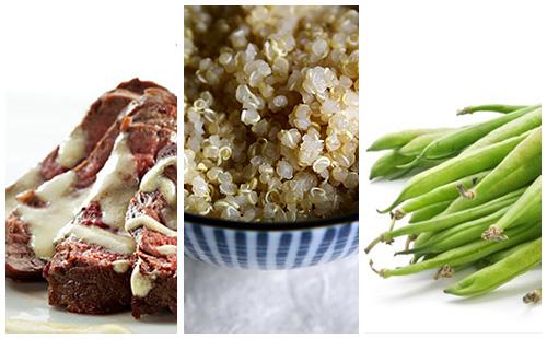 Bifteck sauce moutarde au quinoa et haricots verts