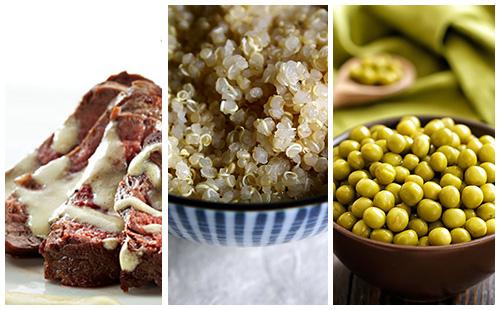Bifteck sauce moutarde au quinoa et petits pois