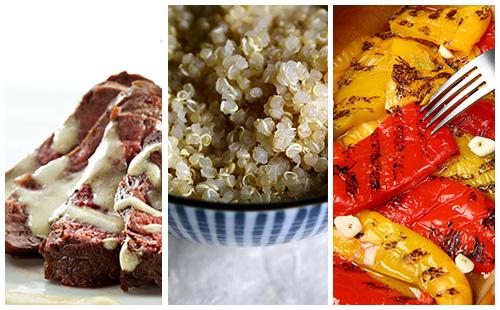Bifteck sauce moutarde au quinoa et poivrons grillés