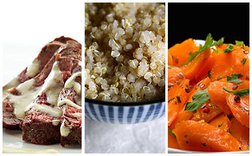 Bifteck sauce moutarde aux carottes et quinoa