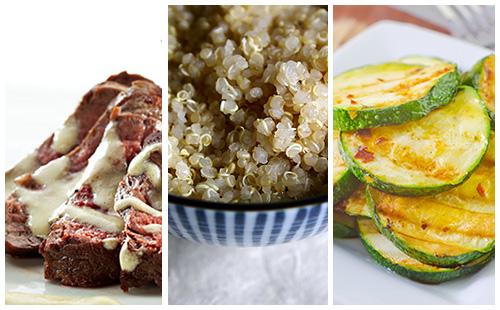 Bifteck sauce moutarde et quinoa aux courgettes poêlées