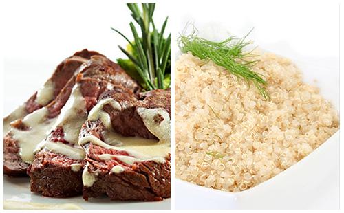 Bifteck sauce moutarde et quinoa