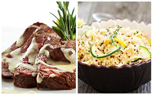 Bifteck sauce moutarde, courgettes et quinoa