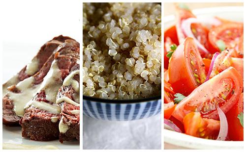 Bifteck sauce moutarde, quinoa et salade de tomates