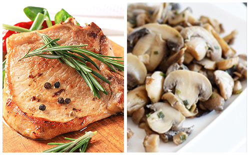 Côte de porc et champignons