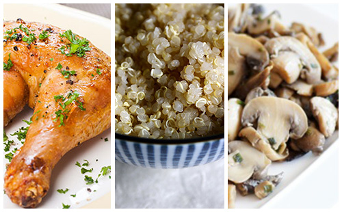Cuisse de poulet aux champignons et quinoa