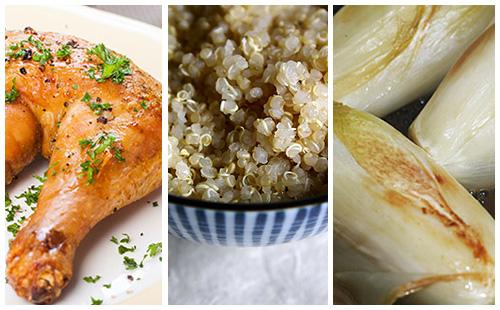 Cuisse de poulet, endives braisées et quinoa