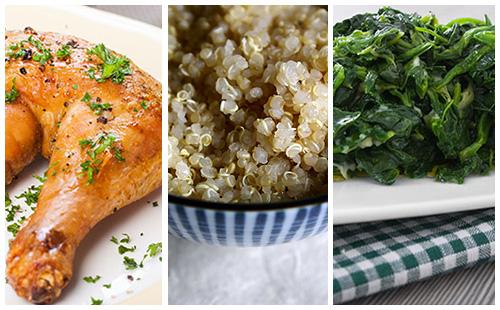 Wecook cuisse de poulet quinoa et pinards - Cuisse de poulet calories ...
