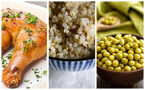 Cuisse de poulet quinoa et petits pois wecook - Cuisse de poulet calories ...
