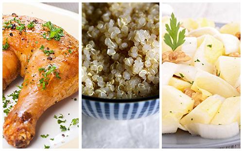 Cuisse de poulet, quinoa et salade d'endives