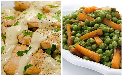 Wecook aiguillettes de poulet la cr me et petits pois carottes - Cuisiner aiguillette de poulet ...