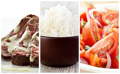 Bifteck sauce moutarde au riz et salade de tomate