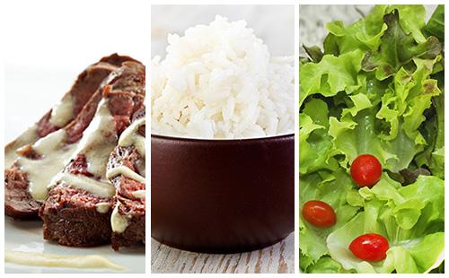 Bifteck sauce moutarde au riz et salade verte