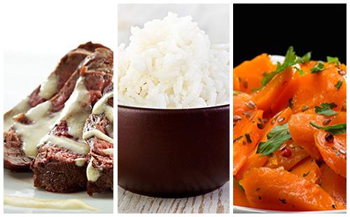 Bifteck sauce moutarde et riz aux carottes