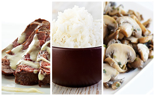 Bifteck sauce moutarde, riz et champignons