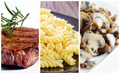 Bifteck, pâtes et champignons