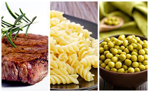 Bifteck, pâtes et petits pois