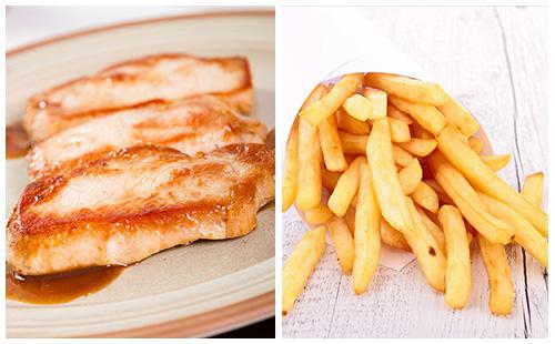Escalope de porc et frites au four