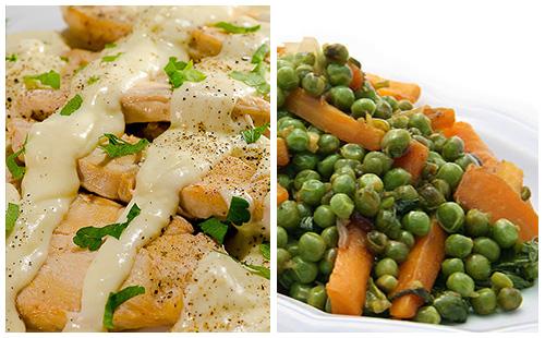Aiguillettes de dinde à la crème et petits pois, carottes