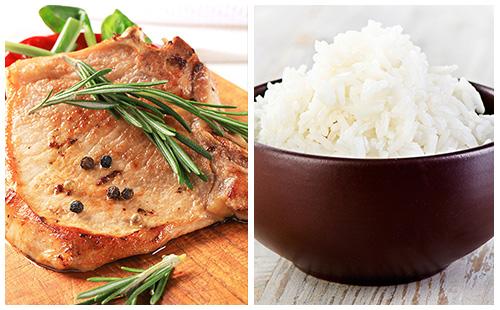 Côte de porc accompagnée de riz blanc