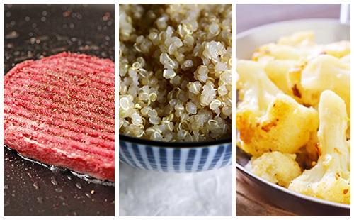 Steak haché sauce moutarde au quinoa et chou-fleur