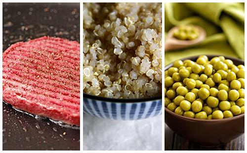 Steak haché sauce moutarde au quinoa et petits pois