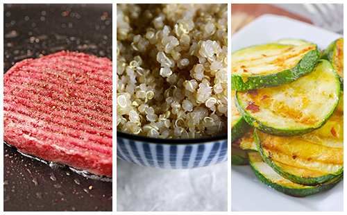 Steak haché sauce moutarde, courgettes et quinoa