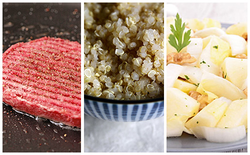 Steak haché sauce moutarde, quinoa et salade d'endives