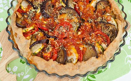 Tartelette d'aubergine et tomate séchée au chèvre