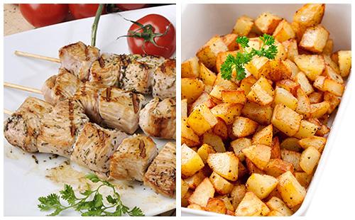 Brochette de porc et pommes rissolées