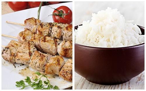 Brochette de porc et riz