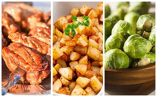 Brochette de porc, pommes rissolées et choux de Bruxelles