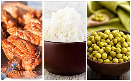 Brochette de porc, riz et petits pois