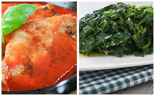 Côtes de porc au paprika, fenouil et carvi, épinards
