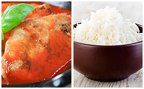 Côtes de porc au paprika, fenouil et carvi, riz