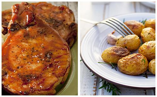 Côtes de Porc levées style St-Hubert, pommes de terre au four