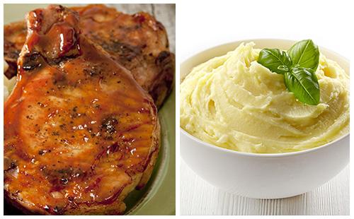 Côtes de porc levées style St-Hubert, purée de pomme terre