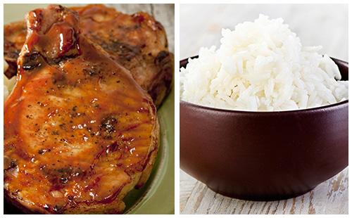 Côtes de Porc levées style St-Hubert, riz