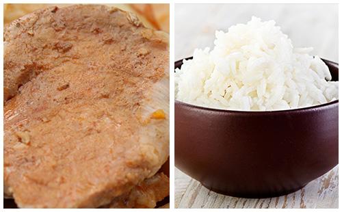 Côtes de porc à la crème de paprika, riz