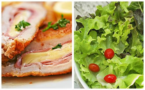 Cordon bleu et salade
