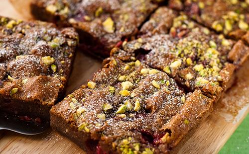 Brownies pistache framboise