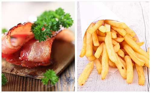 Bacon et frites au four