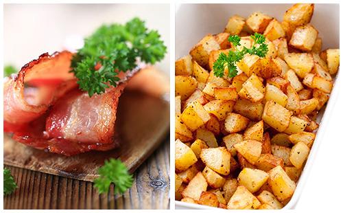 Bacon grillé et ses pommes de terre rissolées