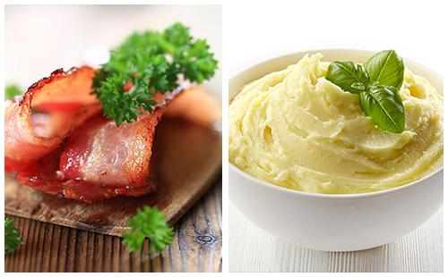 Bacon et purée de pommes de terre