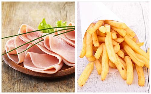 Jambon et frites au four