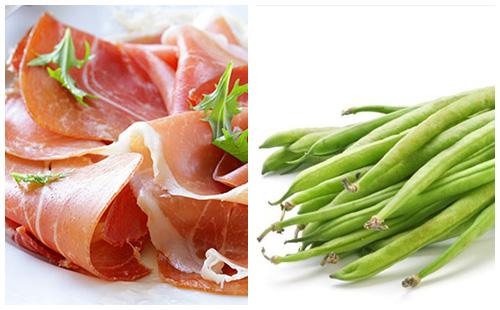 Jambon fumé et haricots verts